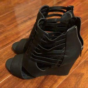Rampage black wedge heels